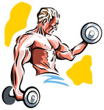 Body builder. Working out with dumbbell line art image Stock Image