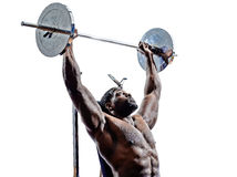 Body builders building weights man silhouette Royalty Free Stock Image