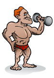 Body building exercise. Illustration of an body builder person in isolated background Stock Photo