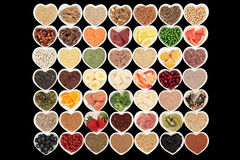 Body Building Health Foods. Large body building high protein health food of meat and fish with supplement powders, grains, cereals, seeds, pulses, fruit and stock photo