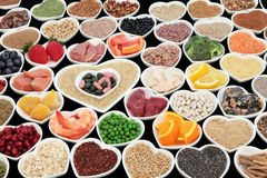 Body Building Health Foods. Large body building and health high protein super food with meat, fish, dairy, pulses, cereals, grains, seeds, supplement powders stock photography