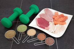 Body Building High Protein Food and Powders Royalty Free Stock Photography