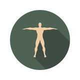 Body building icon. Silhouette of the posing Bodybuilder. Web Icon in Flat Design with Long Shadows Stock Image