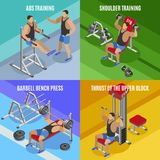 Body Building Isometric Design Concept. Men during workout on various exercise equipment isolated vector illustration stock illustration