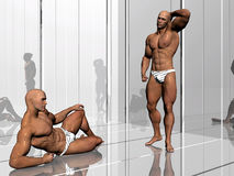 Body building, lifestyle. 3d illustration, body builders on stage, lifestyle, extreme sports concept Royalty Free Stock Photos