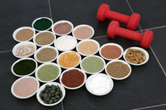 Body Building Powders and Vitamin Pills Stock Photography