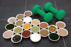 Body Building Powders and Vitamin Supplements Royalty Free Stock Photography