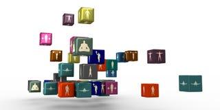 Body Building-Schattenbilder auf Kästen Lizenzfreie Stockfotos