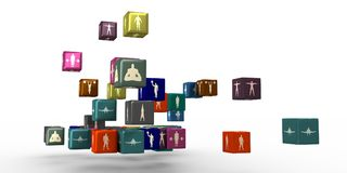 Body building silhouettes on boxes Royalty Free Stock Photos