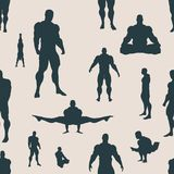 Body building silhouettes. Seamless background. Body building silhouettes. Bodybuilder posing. Vector seamless background Stock Photos