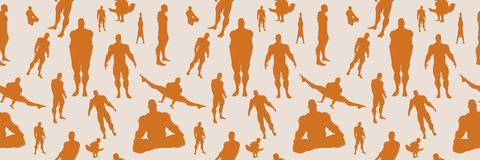 Body building silhouettes. Seamless background Stock Photography