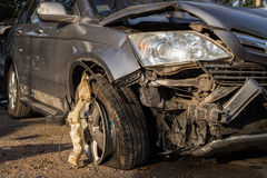 Body of car get damaged by accident. Close up body of car get damaged by accident Royalty Free Stock Image