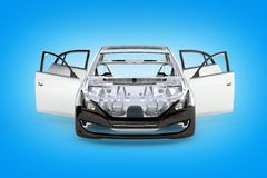 Body car with no wheel front view on blue gradient background 3d. Body car with no wheel front view on blue gradient background stock illustration