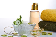 Body Care. Salt, towel, shower gel, flower and decoration object Royalty Free Stock Images