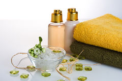 Body Care. Salt, towel, shower gel, flower and decoration object Royalty Free Stock Photography
