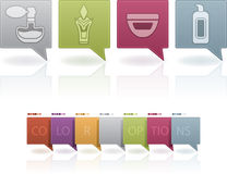 Body care. Everyday cosmetics form left to right: Woman's perfume, Men's perfume, Skin cream, Body lotion . (This artwork set contain 7 different colors scheme vector illustration
