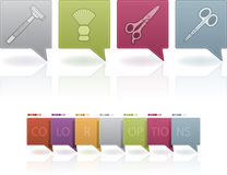 Body care. Everyday body care things form left to right: Razor, Shaving brush, Scissors, Manicure scissors. (This artwork set contain 7 different colors scheme stock illustration