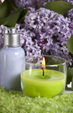 Body care. Aroma candle, salt, body cream and lilac Royalty Free Stock Images