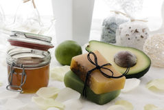 Body Care. Fresh fruit, honey and herb soup are well decorated Royalty Free Stock Photos