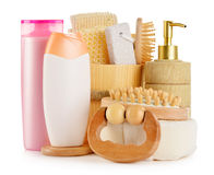 Body care accessories and beauty products on white. Composition with  body care accessories and beauty products on white Royalty Free Stock Images