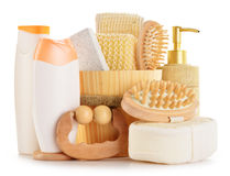 Body care accessories and beauty products on white. Composition with  body care accessories and beauty products on white Royalty Free Stock Image