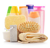 Body care accessories and beauty products on white. Composition with  body care accessories and beauty products on white Royalty Free Stock Photo