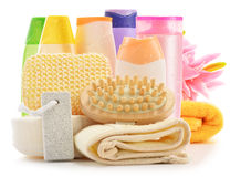 Body care accessories and beauty products on white. Composition with  body care accessories and beauty products on white Stock Photo