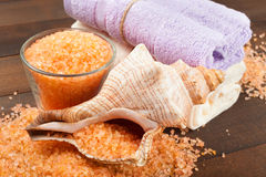 Body care accessories: towels, sea salt, soap and shell. On wooden table Stock Photography