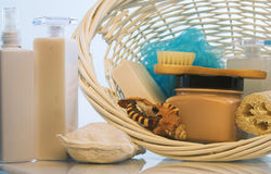 Body care in a basket Stock Images