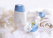 Body care and beauty products front view with foam Stock Image
