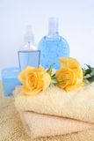 Body care items. And towels stock image