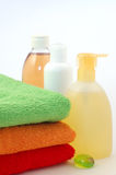 Body care items and towels Stock Photography
