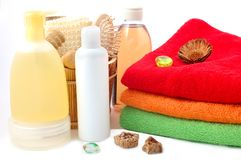 Body care items and towels Stock Images