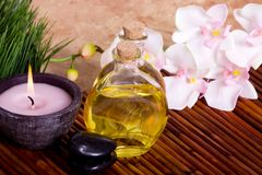 Body care and massage items. On bamboo mat Stock Images