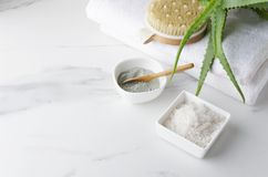 Body care preparation.Spa treatments with clay,salt and body brush.Empty space for text stock image