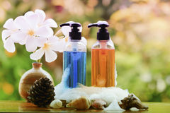 Body care product,shower,shampoo,lotion and Frangipani or plumer. Ia flower on nature background with Soap Bubbles in pastel style Stock Images