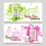 Body care products 2 banners set Stock Photo
