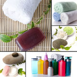 Body care products collage Royalty Free Stock Images