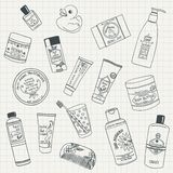 Body care products. Collection of hand drawn organic beauty care products Stock Images