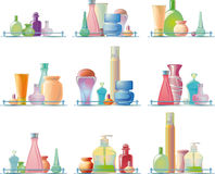 Body care products on a glass shelf Royalty Free Stock Photos