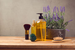 Body care products on wooden table Royalty Free Stock Photo