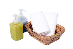 Body care set with towel. Stock Photo