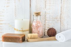 Body Care Spa Relaxation Cleansing Concept. Brush Handmade Coal Tar Soap Essential Oil Himalayan Salt Sandal Wood Massage Ball Royalty Free Stock Photography