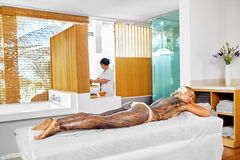 Body Care. Spa Treatment. Woman Mask Beauty Salon. Skin Therapy Royalty Free Stock Images