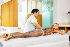 Body Care. Spa Treatment. Woman Mask Beauty Salon. Skin Therapy. Body Care. Spa Treatment. Beautiful Young Woman Receiving Cosmetic Clay, Marine Algae Body Mask royalty free stock photos