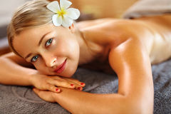 Body Care. Spa Woman. Beauty Treatment. Body Massage, Spa Salon. Body Care. Spa Woman. Beauty Treatment Concept. Beautiful Healthy Caucasian Girl Relaxing On Royalty Free Stock Image