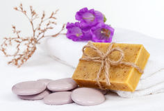 Body care still life with herbal soap Royalty Free Stock Photography