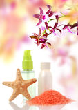 Body care treatment and orchid Stock Images