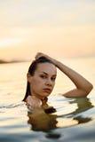 Body Care. Woman Enjoying Sea, Sunset. Healthy Lifestyle. Summer Royalty Free Stock Photos
