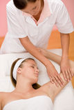 Body care - woman hand massage Royalty Free Stock Images